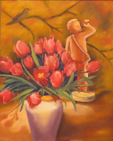Cindy Parsons Paintings, Cupids Tulips, 20 x 16 framed, oil, $200
