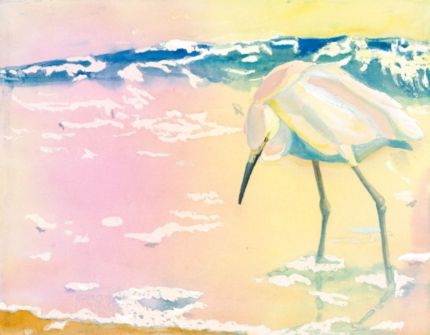 Sherry Adams Foster, Fishing at Dawn, watercolor, $250