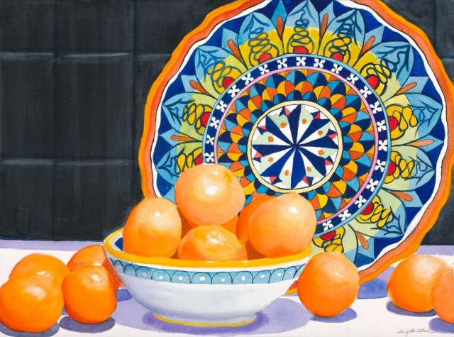 Sherry Adams Foster, Clementines, 34 x 41, watercolor, $600