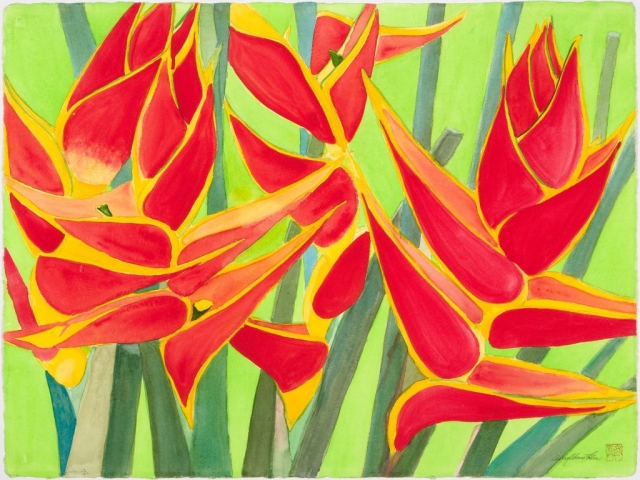 Heliconia, 36 x 28, watercolor, $450