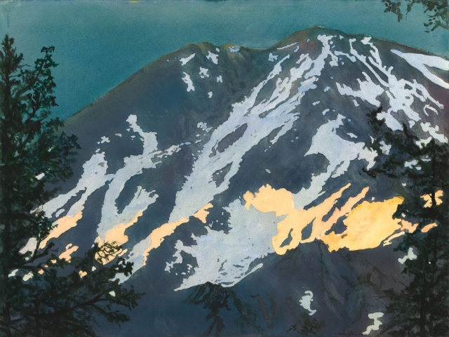 Mt. Shasta at Dusk, 34 x 41, watercolor, $500