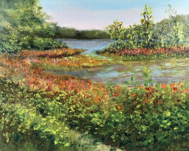 Cindy Parsons Paintings, FallColors on the Pond, 16 x 20, oil, $495