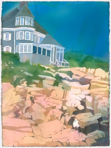 Sherry Adams Foster, The House at Biddeford Pool, 28x36, watercolor, $400