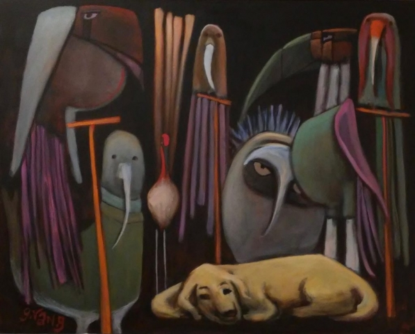 Gary Van Gorp, Bird Dog Dreams, acrylic, $500