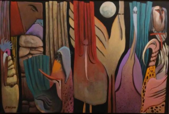 Gary Van Gorp, Moon Birdz 9, acrylic, $500