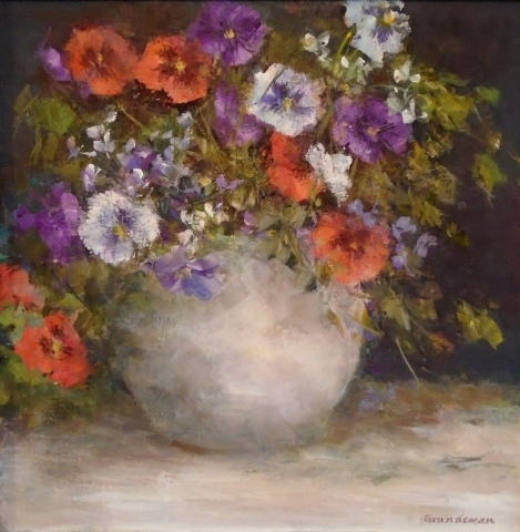 "Barbara Grundeman, ""Pansies"", 12""x 12""  acrylic, $250.00"