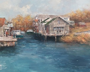 "Barbara Grundeman, ""Fishtown at Leland"", $375"