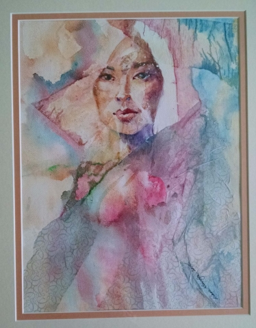 Diane Krempa, Contemplation, watercolor/collage, 20x24.5, $375