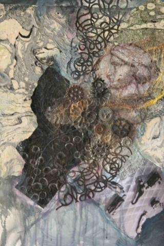 Diane Krempa, Encircling, acrylic/collage, 22 x 28, $375
