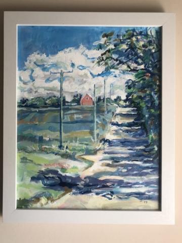 Steve Rubin, Barn on Zeeb Rd, acrylic, $350