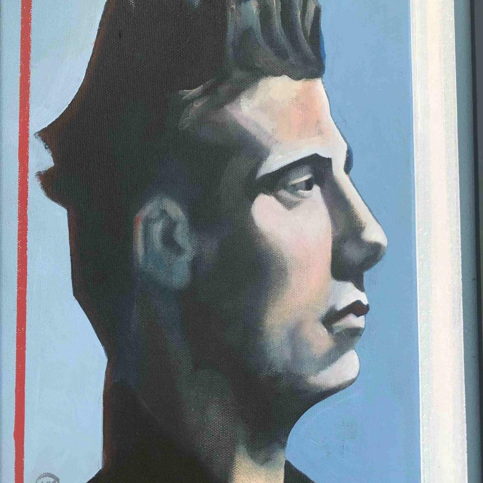 Lawrence Sekulich, Man in a Color Field, Oil, $300