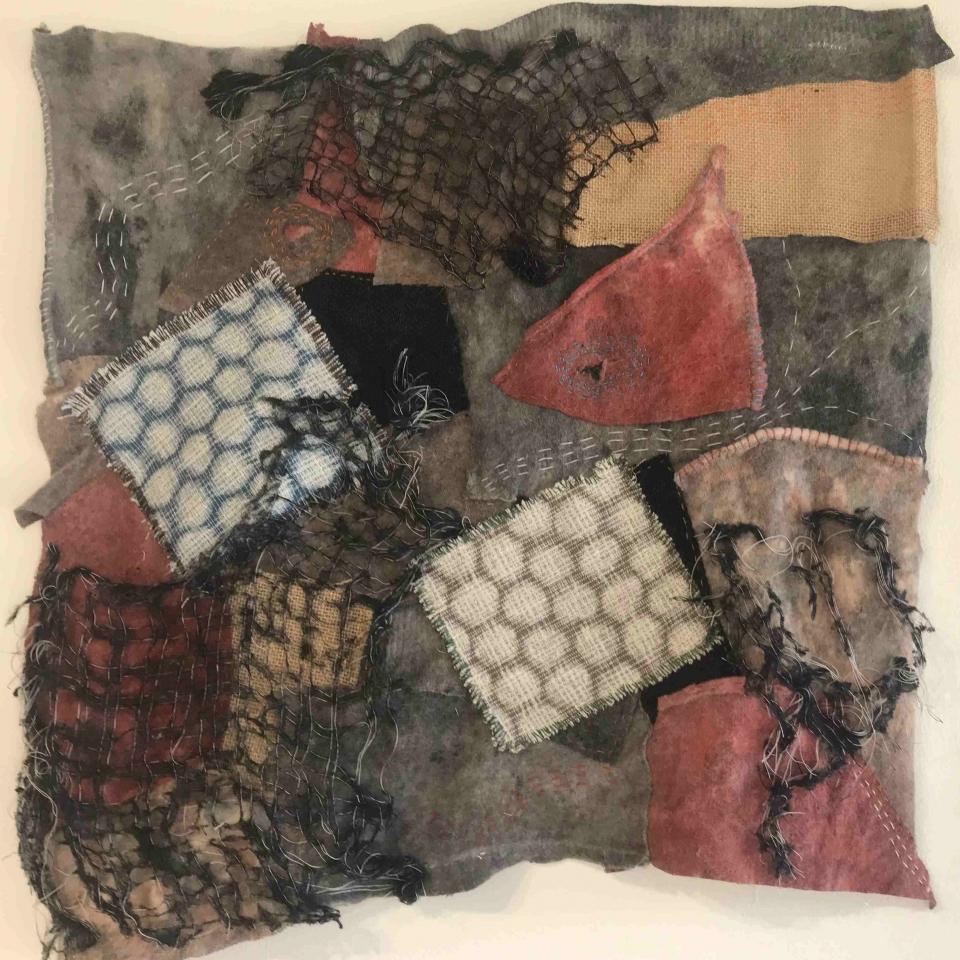 Nancy J Rodwan,Bird with Lattice, fiber Art, $400