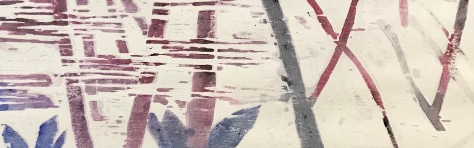 GERALD MULKA – MARCH MARSH WOOD BLOCKPRINT 23X27 $250