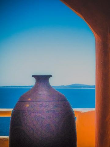Arnold Berkman-Vase on Balcony, Argentina-20 x 25-$375.00